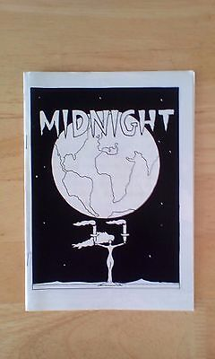 Midnight zine black and white photo copied A5 size, cartoons, poetry, graphics.