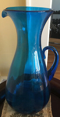"HUGE Mariner BLUE BLENKO Glass 16 3/8"" Applied Handle Pitcher"