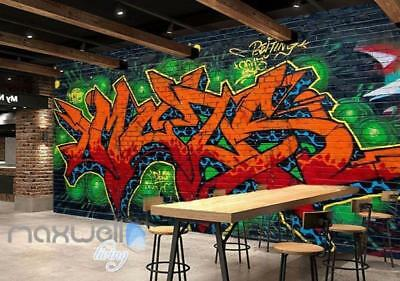 Graffiti Fire Letters Green Blue Wall Murals Wallpaper Art Decals Print Decor