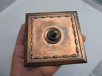 Vintage Brass Light Switch Square Ceramic Art Deco Old Antique Copper Plate