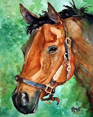 Bay Horse 11x14 signed art PRINT from original watercolor painting RJK