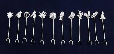 12 Pc Taxco Mexican Sterling Silver Hors'doevres Olive Picks