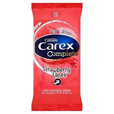 ** 2 X Carex Complete Strawberry Laces Wipes For Hands Face & Body New **