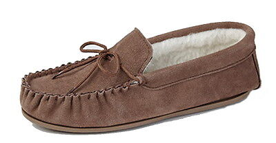 Men's Real Suede Moccasin Slippers with Wool Lining & Hard Sole **SALE**