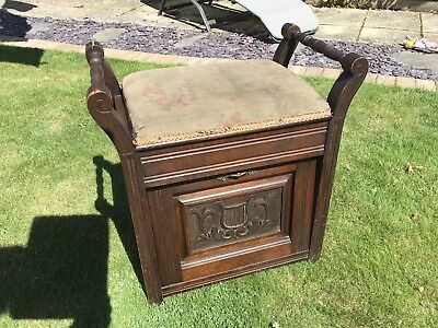 Antique Edwardian Solid Wood Piano Stool with Storage Original Fabric
