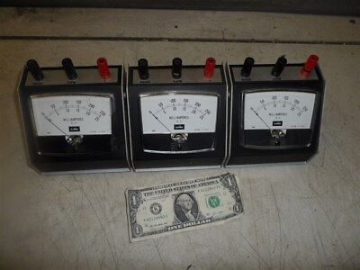 3 Lapine Panel Meter-Dc Milliamps Dual Scale Z-7160 0-25 & 0-250 Mounted In Case