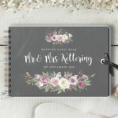 Personalised Wedding Guest Book, Chalkboard Frosted Rose, Blank Message Book