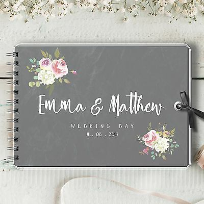 Personalised Wedding Guest Book, Chalkboard Emma Rose, Blank Message Book Gift