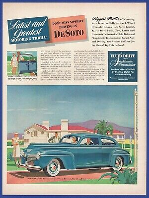 Original 1941 Print Ad Desoto De Soto Auto Vintage Art Sedan 6 Passenger Deluxe Fine Quality Collectibles Advertising-print