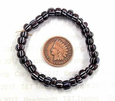 Dk Mahogany Striped Fort Mackinaw  1700's Antique Trade Beads authentic style
