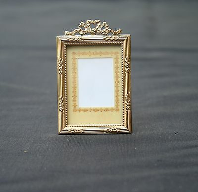 "Antique French Gilt Bronze Small Photo Frame Louis Xvi Stand/hanging 1.8""tall"