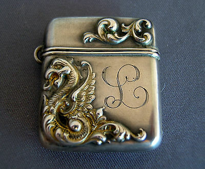 Victorian Sterling Silver Griffin Stamp Case Box