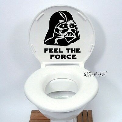 Star Wars Darth Vader Toilet Feel The Force Funny cartoon Vinyl Decal Home Decor
