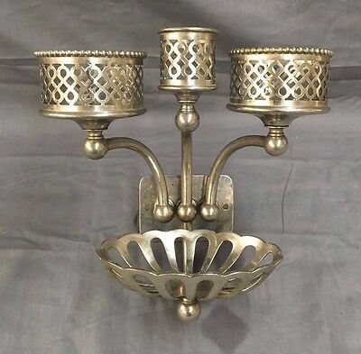 Antique Nickel Brass Double Triple Cup Soap Beaded  Holder Silvers VTG 137-17J