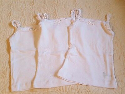 NWOT Lot of 3 Girls size 2T white undershirts: by Feathers. Tagless!