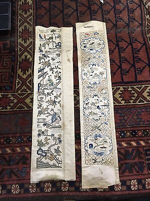 Wonderful Antiques Pair Of Chinese Textile Panels