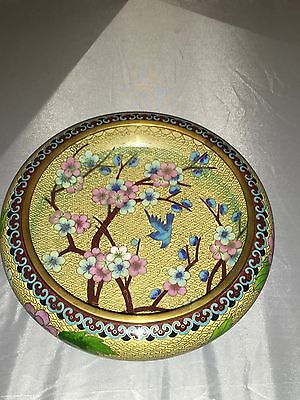 Wonderful Antiques Chinese Cloisonné Bowl With Bird, Flowers