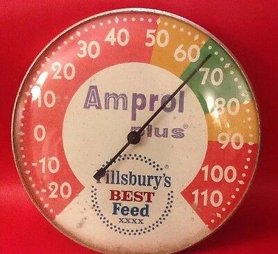 Pillsbury's Best Feed Amprol Plus Advertising Thermometer Sign Original Vintage