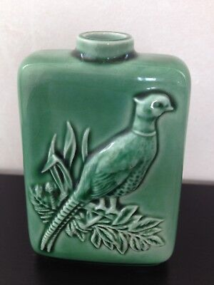 1970 Beswick Beneagles Scotch Whisky Flask Embossed Pheasant Green Glaze Ceramic