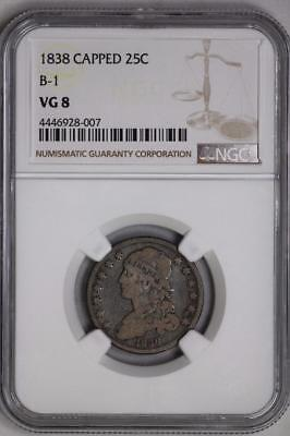 1838 Capped Bust Quarter VG8 NGC B-1 25c US Mint Silver Coin