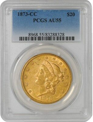 1873-CC $20 Gold Liberty AU55 PCGS