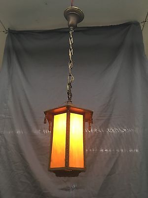 Vtg Brass Floral Pendant Art Crafts Light Fixture Caramel Slag Glass Old 513-17E