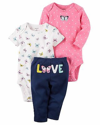 NEW NWT Girls Carter's Preemie Premature 3 Piece Butterfly Love Set