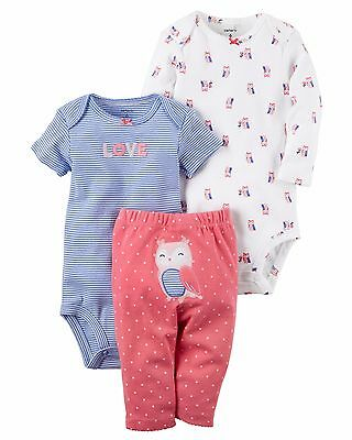 NEW NWT Girls Carter's Preemie Premature 3 Piece Owl Love Set