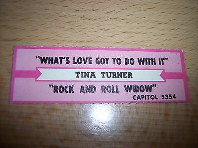 """1 Tina Turner What's Love Got To Do Jukebox Title Strips CD 7"""" 45RPM Records"""