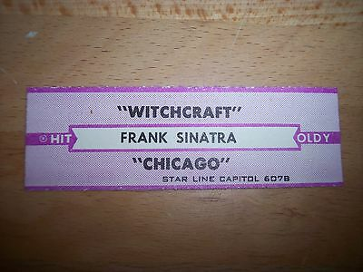 """1 Frank Sinatra Witchcraft / Chicago Jukebox Title Strips CD 7"""" 45RPM Records"""