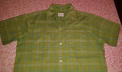 Vtg 1960s PENNEYS TOWNCRAFT Loop Collar Shirt M Green Plaid