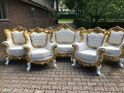 Antique Baroque Set French Style: Sofa Couch  With Four Chairs(5 Pieces)