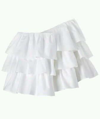 "Circo White Ruffled 3 Tiered Crib Bedskirt ~ Dust Ruffle 14"" Drop"