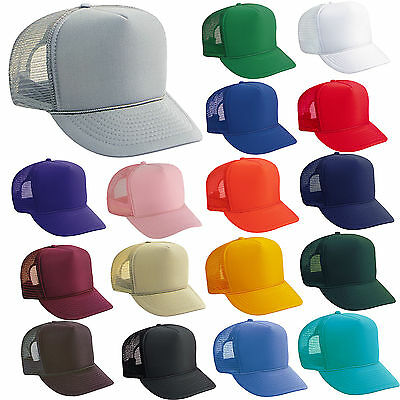 14 TRUCKER HATS ~ WHOLESALE LOT ~ SOLID COLORS Mesh Caps Adjustable SNAPBACK HAT