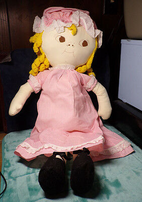 "26"" Cloth ~ Dolly Dingle ~ Doll ~ Blond ~ Blonde Curls ~ Vintage ~ Pajamas & Cap"