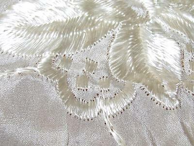 """Antique Cloth Fabric Silk Embroidery Piano Scarf ? Tablecloth ? Flowers 50"""""""