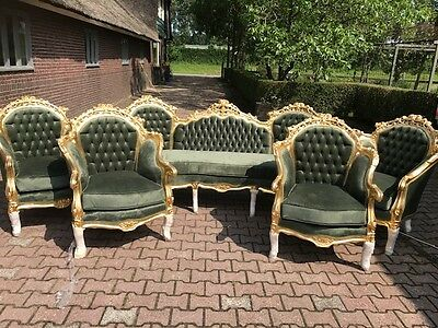 Antique Louis Xvi Set French Style: Sofa Couch  With Four Chairs (5 Pieces)
