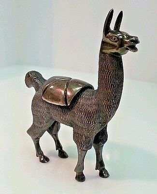 Vintage Sterling Cast Alpaca/Llama Figurine, Large & Beautifully Detailed