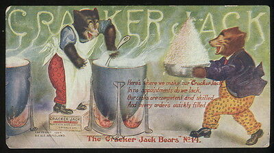 1907 Cracker Jack Bears Post Card #14, Bears Cooking Cracker Jack