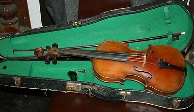 Old  vintage antique violin with case and bow for repair