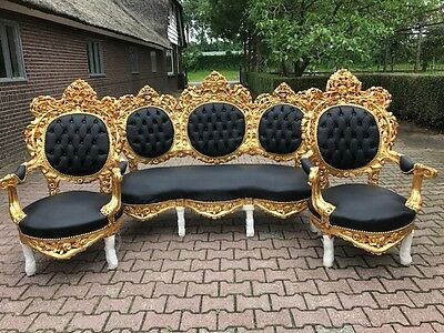 Antique Rococo Italian Set Of Sofa Couch Settee And  2 Chairs From About 1920