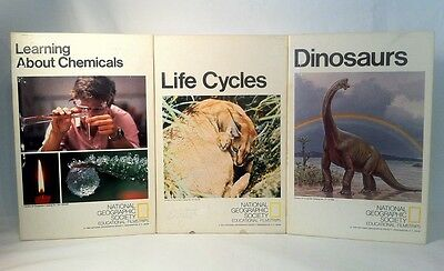 National Geographic 3 Film Strips Learning About Chemicals Life Cycles Dinosaurs