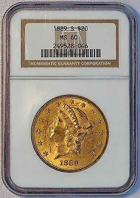 1889 S $20 US Liberty Head Double Eagle Gold Coin TOUGHER S MINT NGC MS 60 MS60