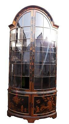 English 19th century lacquered bow fronted display cabinet