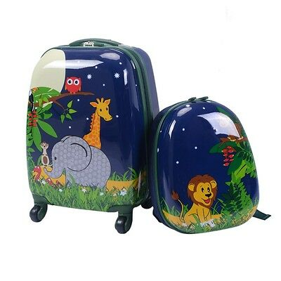 "2pc Blue 12 & 16"" Child Kids Rolling Wheels Suitcase Backpack Travel Luggage Set"