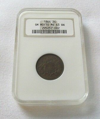 """1864 """"Rare"""" Small Motto US Two Cent NGC MS63 BN Beautiful Coin!!"""