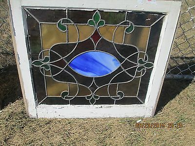 Antique Vintage Stained Glass Window Green Border Blue Center Design