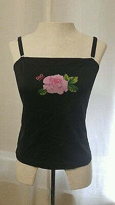 Authentic Dolce and Gabbana Women's Rose Camisole Black Size 4