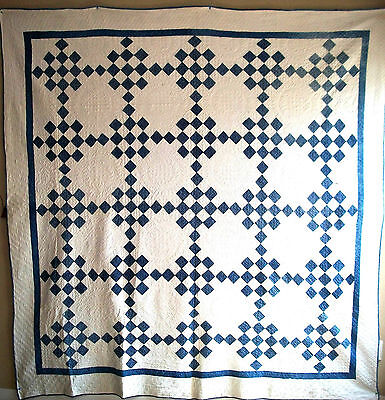 """Antique 1890's-1920's Intricately Handstitched American Patchwork Quilt 86""""x 81"""""""