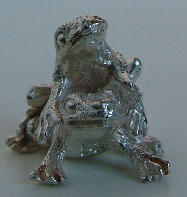 Precious English Solid Sterling Silver Frogs Figurine